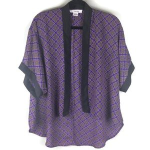 Sans Souci High Low Open Print Kimono Top Sz Small